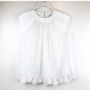 📚Madewell White Cotton Blouse with Lace Hem
